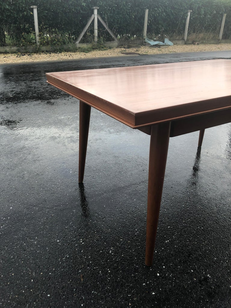 Wood Dining Table by Gaston Poisson For Sale