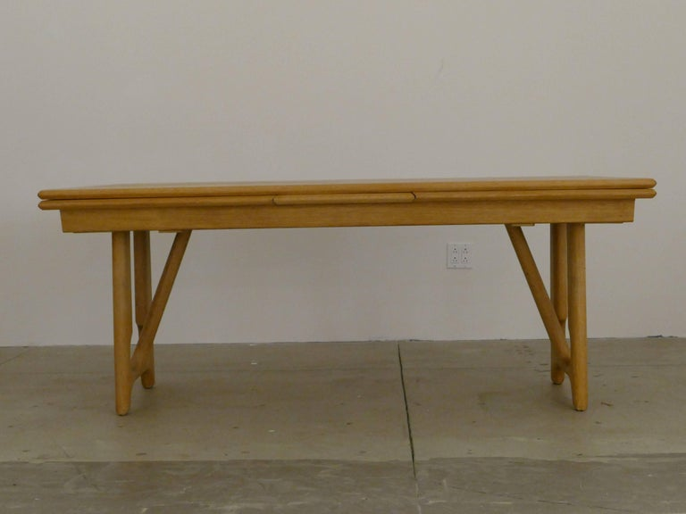 """Mid-Century Modern Dining Table by Guillerme et Chambron, """"A l'Italienne"""" For Sale"""