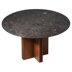 Dining Table by Heinz Lilienthal Made of Fossilised Stone and Wood German Design