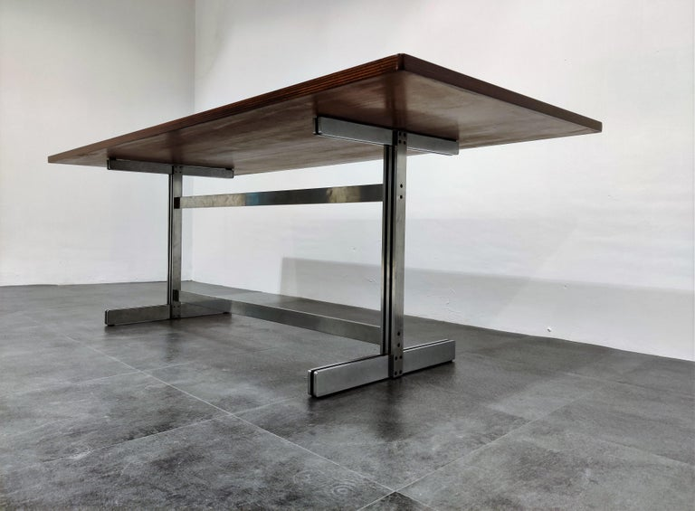 Mid-20th Century Dining Table by Jules Wabbes for Mobilier Universel, 1960s For Sale