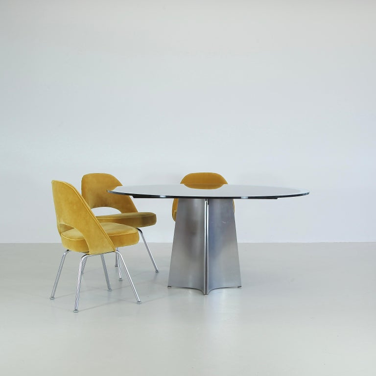 Brushed Dining Table by Luigi Saccardo, circa 1973 For Sale