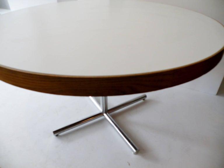 Mid-Century Modern Dining Table Chrome Teak For Sale