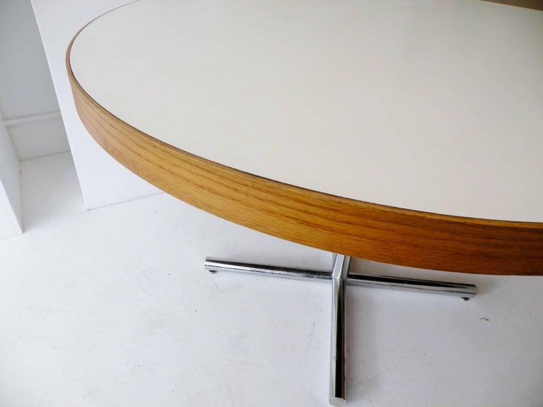 European Dining Table Chrome Teak For Sale
