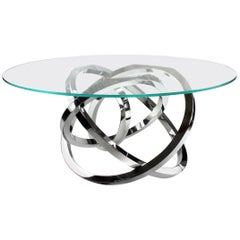 Dining Table Circular Glass Top Stainless Steel Base Italian Contemporary Design