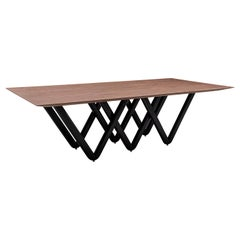 Dining Table Dablio Top in Walnut and Black legs Painted
