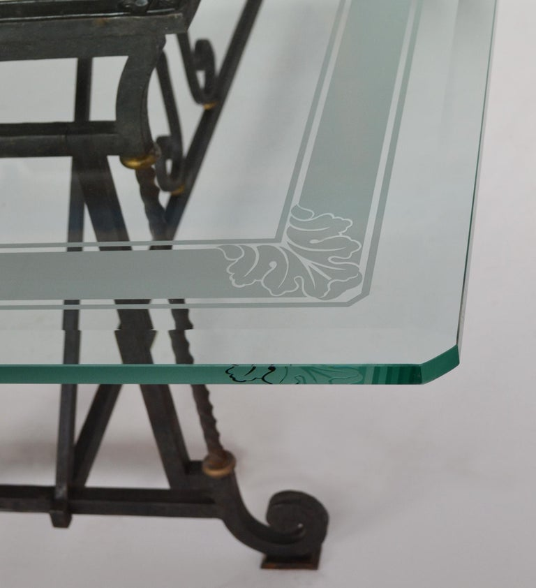 Arts and Crafts Dining Table Decorated Extra Clear Crystal Glass Top Wrought Iron Base Handmade For Sale