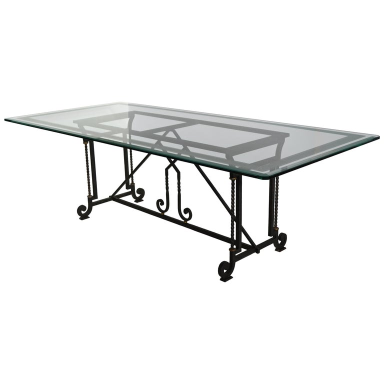 Dining Table Decorated Extra Clear Crystal Glass Top Wrought Iron Base Handmade For Sale