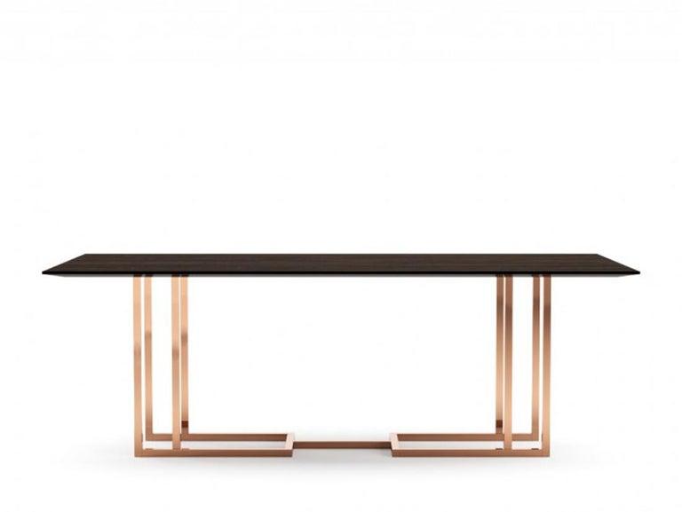 Dining table, Dining table art modern W 220 cm D 110 cm H 75 cm W 240 cm D 110 cm H 75 cm Macassar ebony wood veneer Production time: 6 weeks.