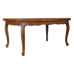 Dining Table, French, Extending, Draw Leaf, Oak Parquet, Seats Ten, circa 1940