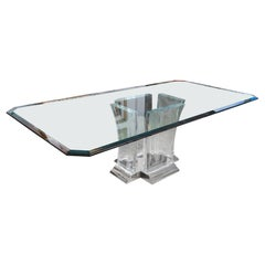 Dining Table in Lucite and Nickel