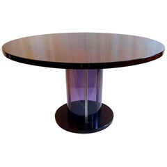 Dining Table in Mahogany and Purple Lucite, Italy, 1970s