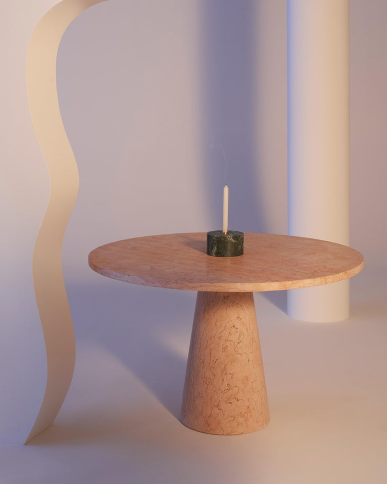 Modern Dining Table in Marble, by Karen Chekerdjian, Made in Italy For Sale