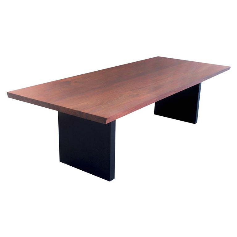 Dining Table in Solid Bookmatched Walnut, Custom Made by Petersen Antiques For Sale
