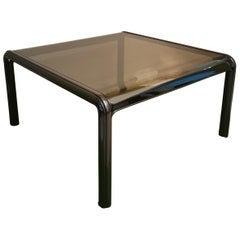 Dining Table Mid Century by Gae Aulenti for Knoll Enameled Aluminum Smoked Glass