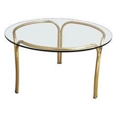 Mid Century Dining Table Gold Metal Glass Italian Design 1970s