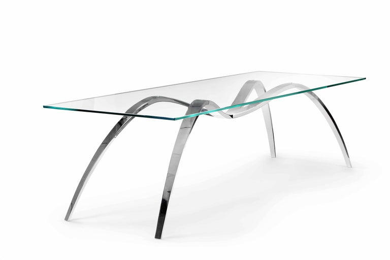 Dining Table Modern Rectangular Glass Steel Italian Limited Edition Design In New Condition For Sale In Ancona, Marche