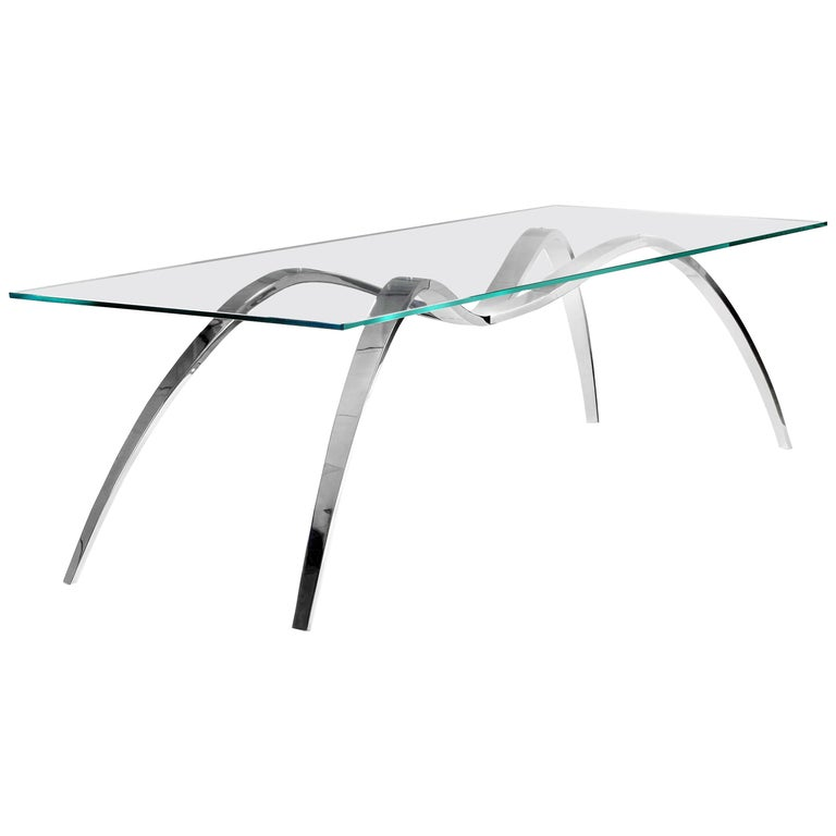 Dining Table Modern Rectangular Glass Steel Italian Limited Edition Design For Sale