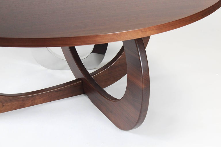 Polished Dining Table Modern Round Circular Wood Steel Italian Contemporary Design For Sale