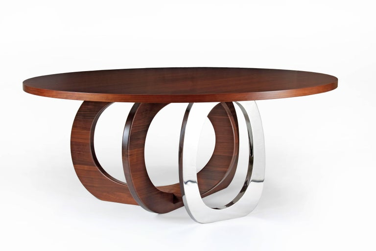 Dining Table Modern Round Circular Wood Steel Italian Contemporary Design In New Condition For Sale In Ancona, Marche