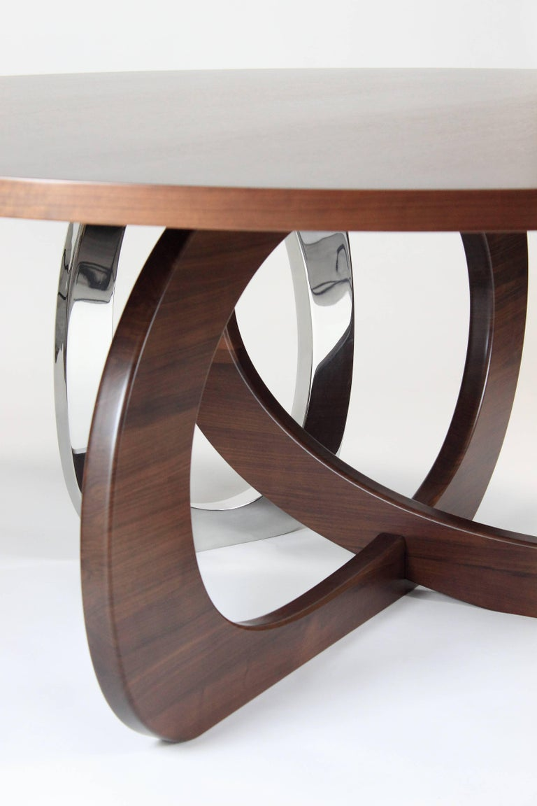 Walnut Dining Table Modern Round Circular Wood Steel Italian Contemporary Design For Sale