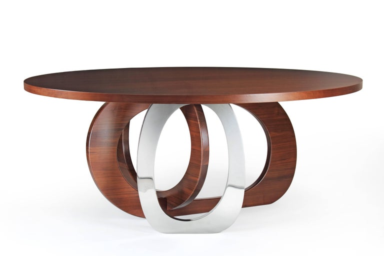 Dining Table Modern Round Circular Wood Steel Italian Contemporary Design For Sale 1
