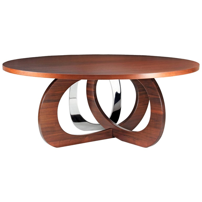 Dining Table Modern Round Circular Wood Steel Italian Contemporary Design For Sale