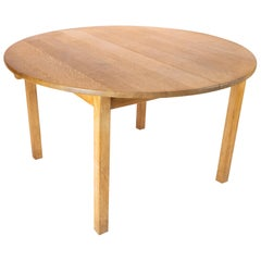 Dining Table of Oak with Extension Leaves Designed by Kurt Østervig