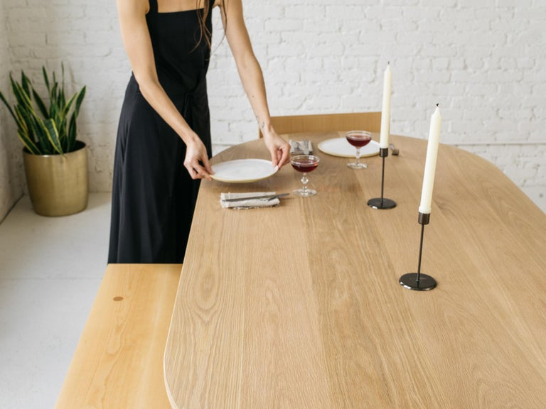 American Dining Table One by Campagna, Contemporary Minimal Pill Shaped Wooden Table For Sale