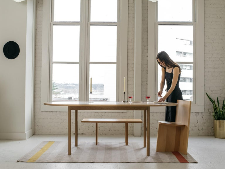 Hand-Crafted Dining Table One by Campagna, Contemporary Minimal Pill Shaped Wooden Table For Sale