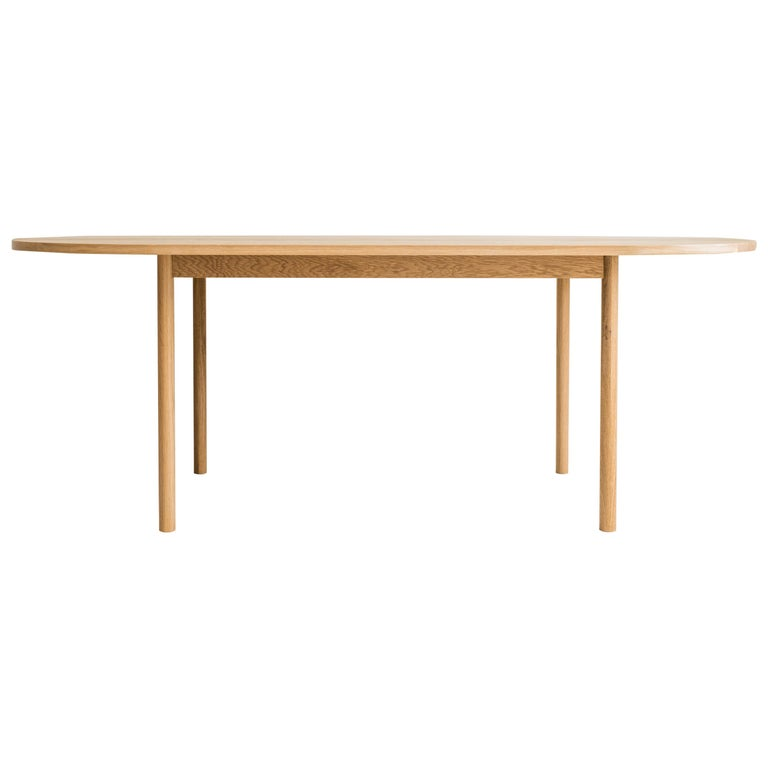 Dining Table One by Campagna, Contemporary Minimal Pill Shaped Wooden Table For Sale