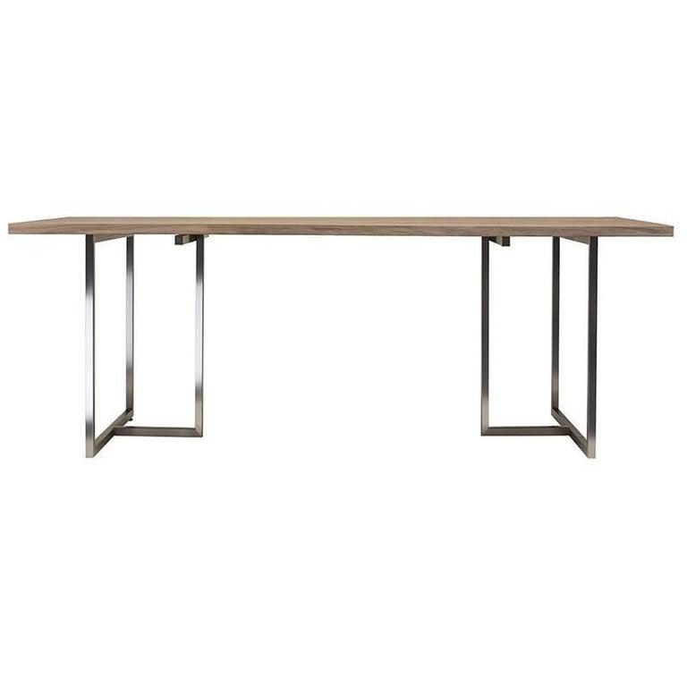 Dining Table Pivot T3456 Stainless Steel Matt Solid Oak Oiled Wood Scandinavian