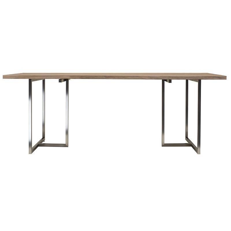 Dining Table Pivot T3456 Stainless Steel Matt Solid Oak Oiled Wood  Scandinavian For Sale