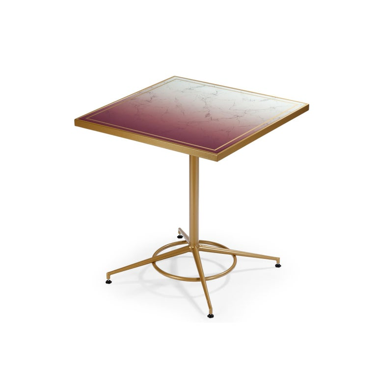 Dining Table Praga with Capri Feet and Printed Glass 2