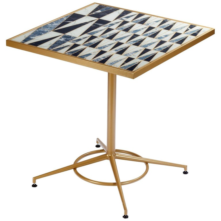 Dining Table Praga with Capri Feet and Printed Glass 1