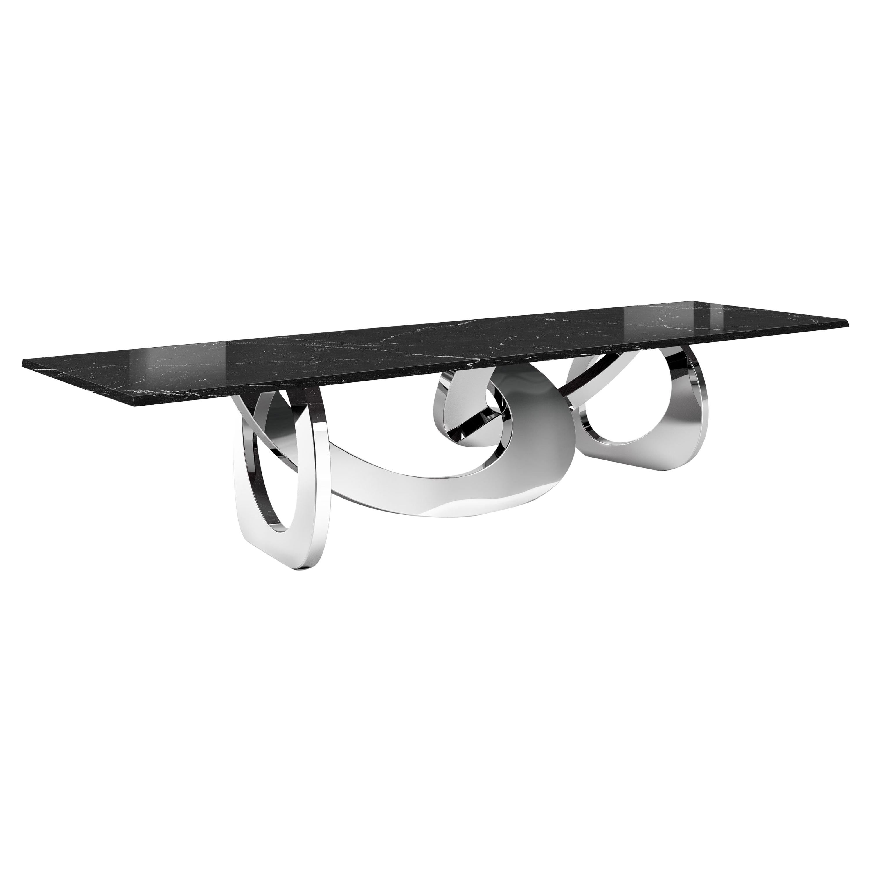 Dining Table Rectangular Black Marble Steel Gold Italian Contemporary Design
