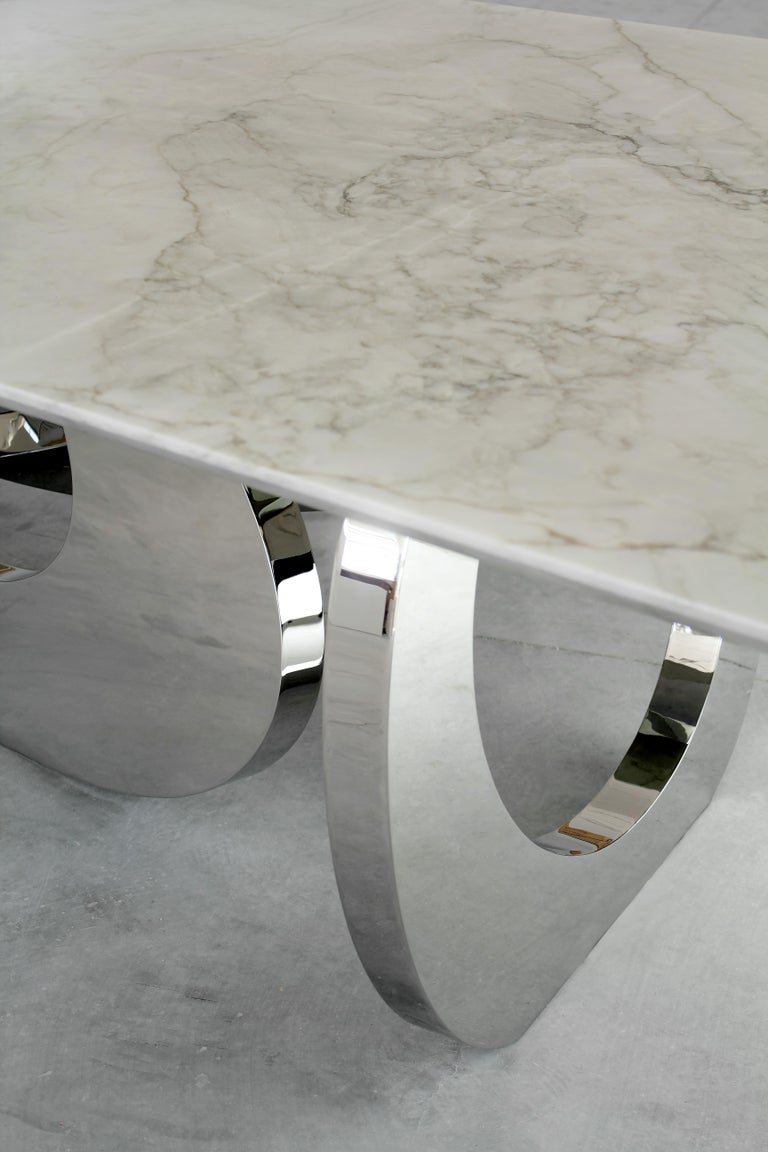 Modern Dining Table Rectangular Marble White Steel Italian Limited Edition Design For Sale