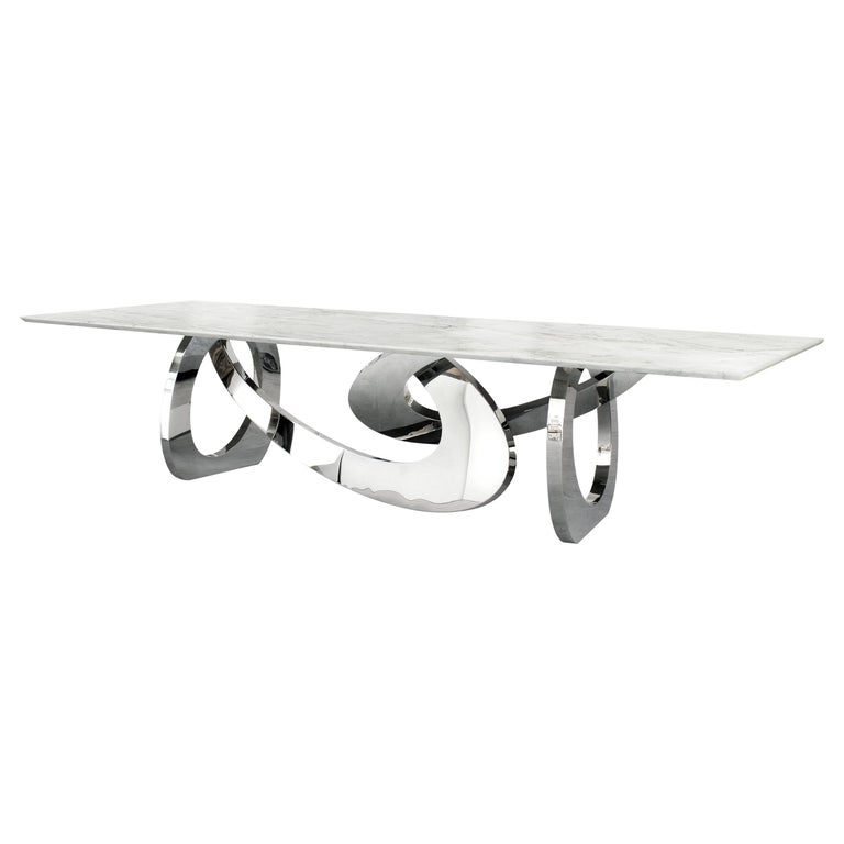 Dining Table Rectangular Marble White Steel Italian Limited Edition Design For Sale