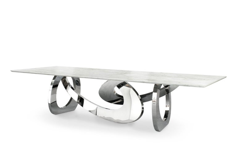 Dining Table Rectangular Quartzite Steel Italian Limited Edition Design In New Condition For Sale In Ancona, Marche