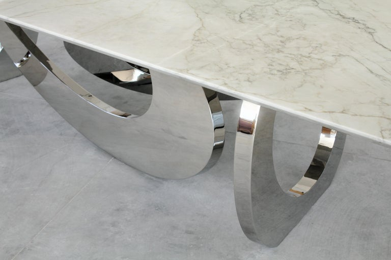 Contemporary Dining Table Rectangular Quartzite Steel Italian Limited Edition Design For Sale