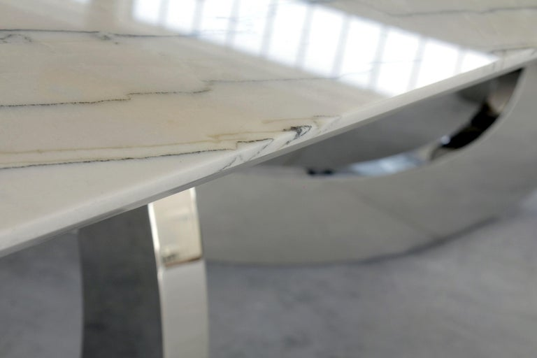 Stainless Steel Dining Table Rectangular Quartzite Steel Italian Limited Edition Design For Sale