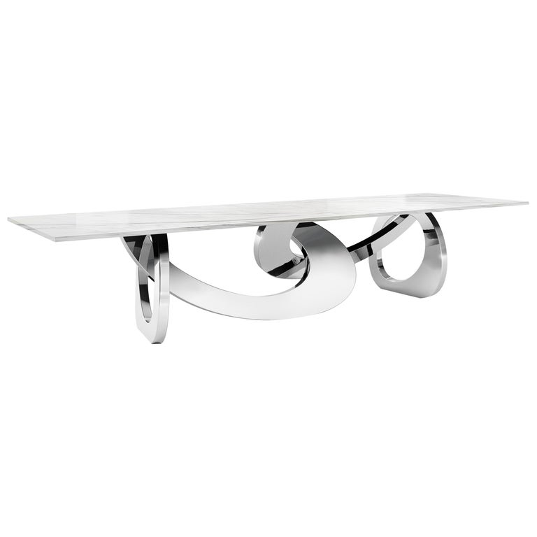 Dining Table Rectangular Quartzite Steel Italian Limited Edition Design For Sale