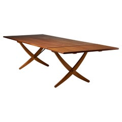 "Dining Table ""Sabre leg"" Designed by Hans J. Wegner for Andreas Tuck, Denmark"