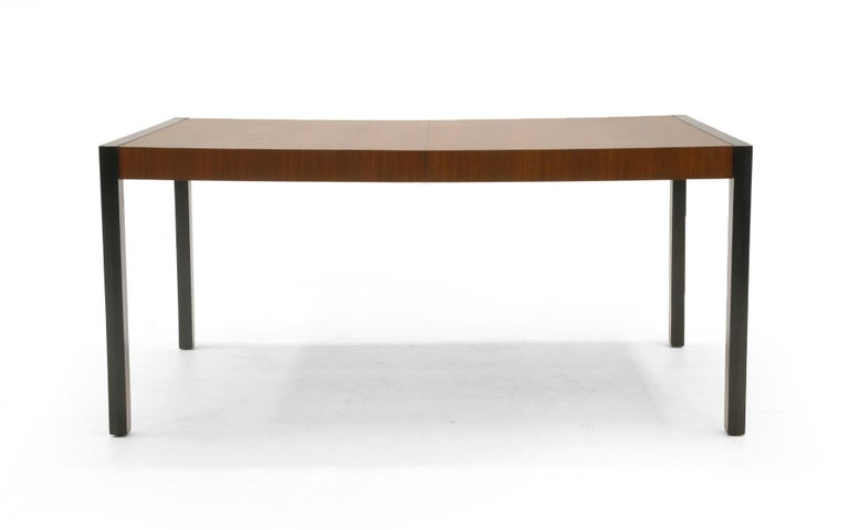 Mid-Century Modern Dining Table, Walnut with Black Ends and Legs by Metropolitan For Sale