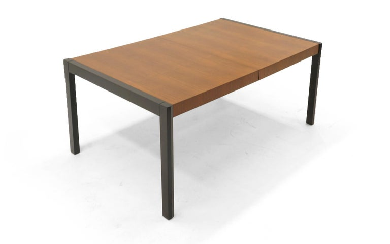 American Dining Table, Walnut with Black Ends and Legs by Metropolitan For Sale