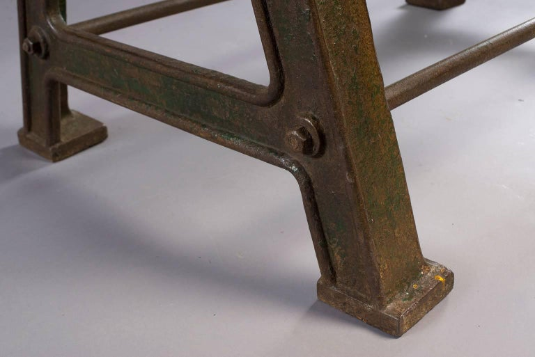 Dining Table with Industrial Iron Base, Original Paint and New Glass Top For Sale 6