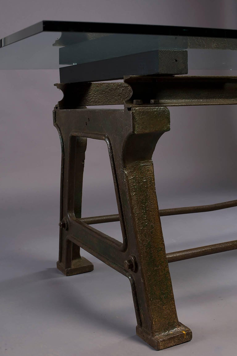 Dining Table with Industrial Iron Base, Original Paint and New Glass Top For Sale 11