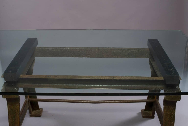 19th Century Dining Table with Industrial Iron Base, Original Paint and New Glass Top For Sale