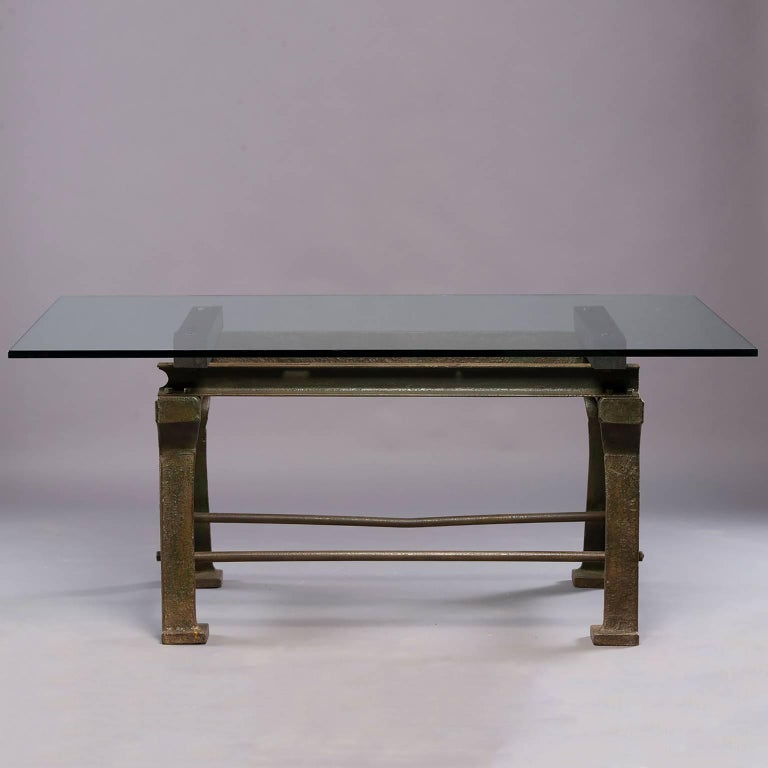 Dining Table with Industrial Iron Base, Original Paint and New Glass Top For Sale 1