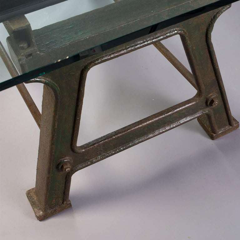 Dining Table with Industrial Iron Base, Original Paint and New Glass Top For Sale 2