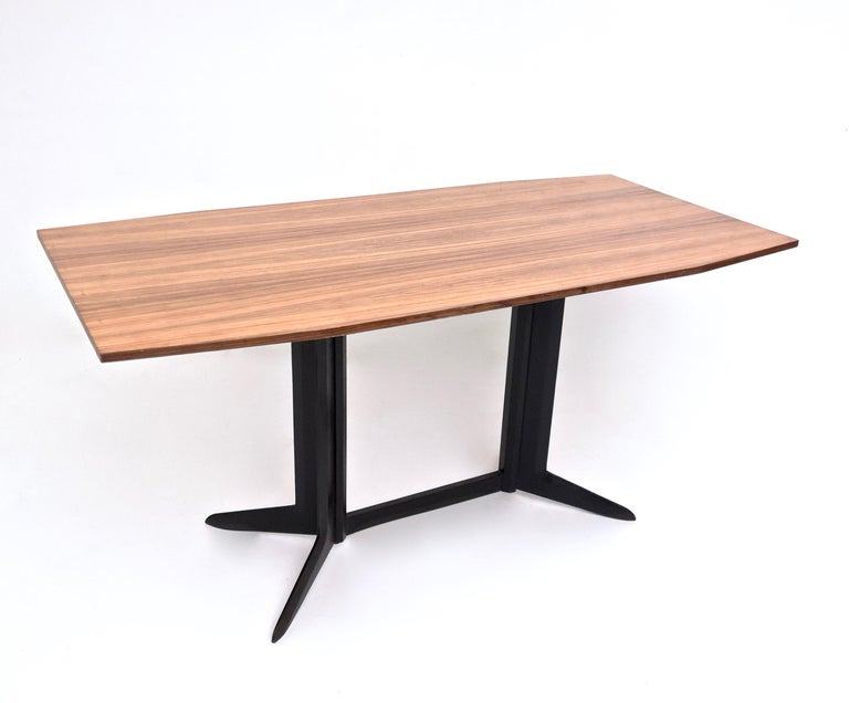 Dining Table With A Zebrawood Veneer Top And An Ebonized Wood Frame Italy 1960s